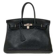 Hermès Birkin 35 handbag in black Togo leather with Palladium Silver hardware !