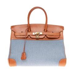 Hermès Birkin 35 handbag in blue denim & brown barenia leather, GHW