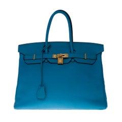 Hermès Birkin 35 handbag in Blue Lagon Togo leather with gold hardware !