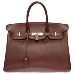 Hermès Birkin 35 handbag in brown Courchevel leather with gold hardware !