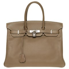 Hermès Birkin 35 handbag in Epsom Etoupe with Silver hardware !