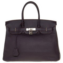 Hermès Birkin 35 handbag in Purple Togo leather with Silver Palladium hardware !