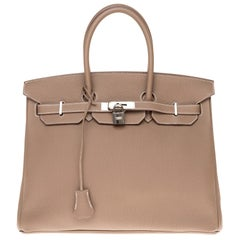 Hermès Birkin 35 handbag in Togo Etoupe with Silver hardware !