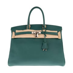 Hermès Birkin 35 handbag in Togo green Malachite color, PHW, Full set !