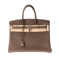 Hermès Birkin 35 handbag in Togo leather in Taupe color and Silver hardware !