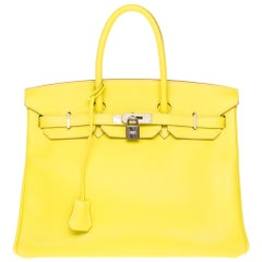 Hermès Birkin 35 handbag in yellow epsom leather & grey interior with PHW !