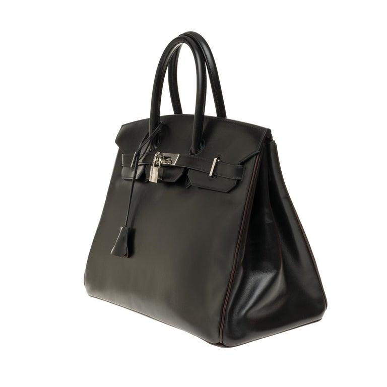 Black Hermès Birkin 35 handbag special order bicolor in black and brown calfskin, PHW For Sale