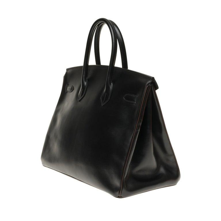 Hermès Birkin 35 handbag special order bicolor in black and brown calfskin, PHW In Good Condition For Sale In Paris, Paris