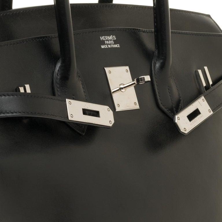 Women's or Men's Hermès Birkin 35 handbag special order bicolor in black and brown calfskin, PHW For Sale