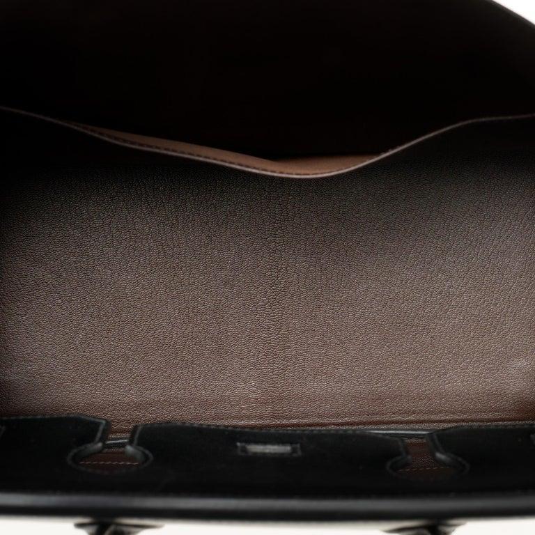 Hermès Birkin 35 handbag special order bicolor in black and brown calfskin, PHW For Sale 2