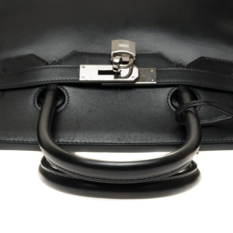 Hermès Birkin 35 handbag special order bicolor in black and brown calfskin, PHW For Sale 3