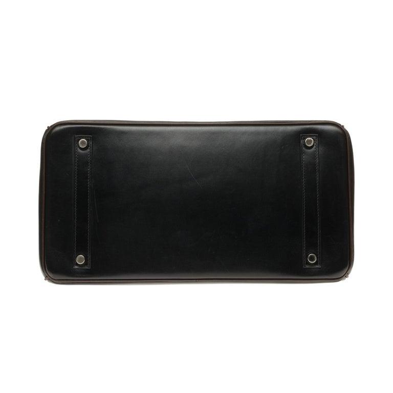 Hermès Birkin 35 handbag special order bicolor in black and brown calfskin, PHW For Sale 4