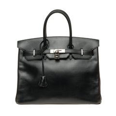 Hermès Birkin 35 handbag special order bicolor in black and brown calfskin, PHW