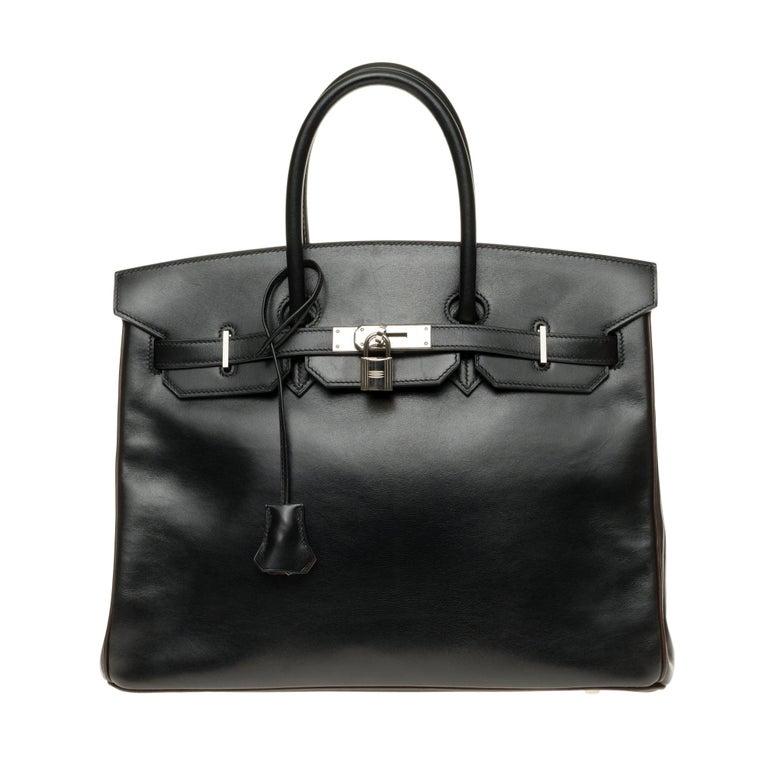 Hermès Birkin 35 handbag special order bicolor in black and brown calfskin, PHW For Sale
