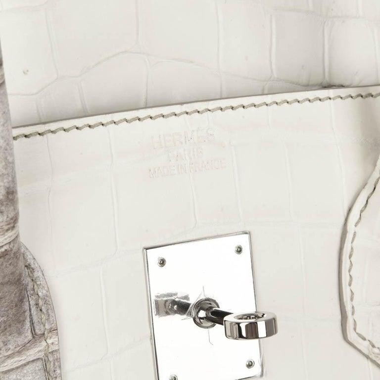 Hermes Birkin 35 Himalaya Blanc Crocodile Palladium Hardware For Sale 6