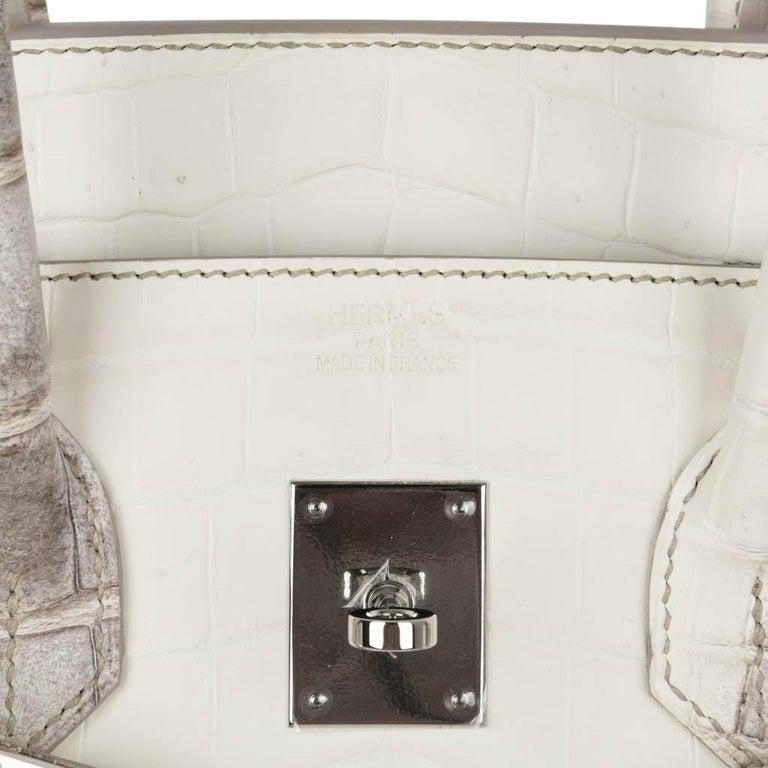 Beige Hermes Birkin 35 Himalaya Blanc Crocodile Palladium Hardware For Sale