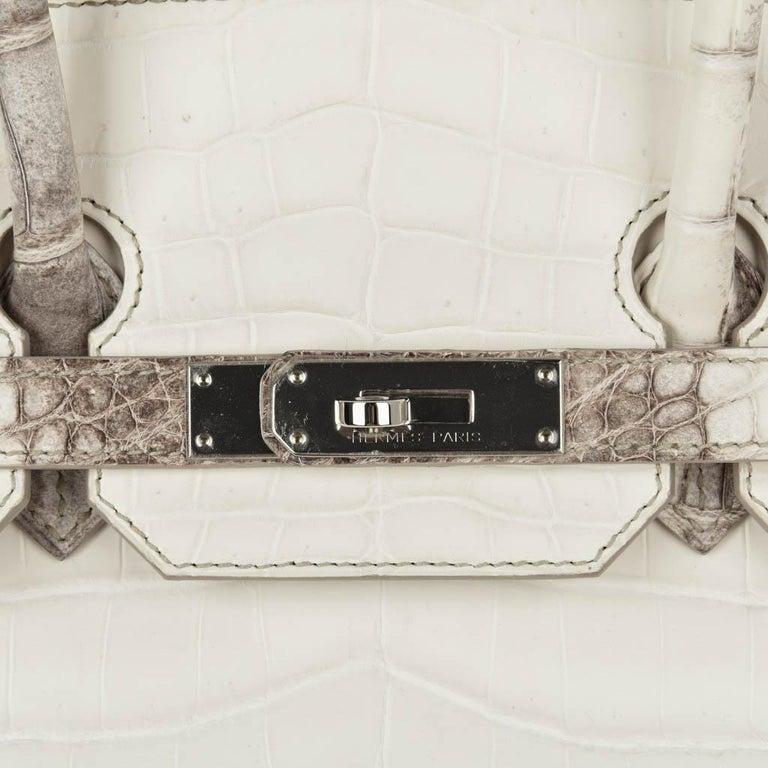 Hermes Birkin 35 Himalaya Blanc Crocodile Palladium Hardware In New Condition For Sale In Miami, FL