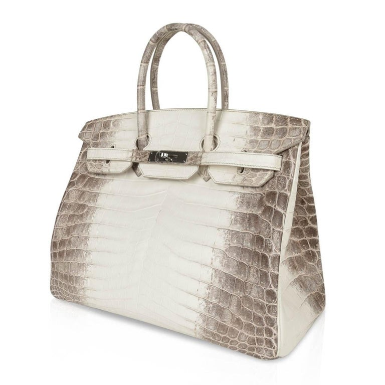 Hermes Birkin 35 Himalaya Blanc Crocodile Palladium Hardware For Sale 2