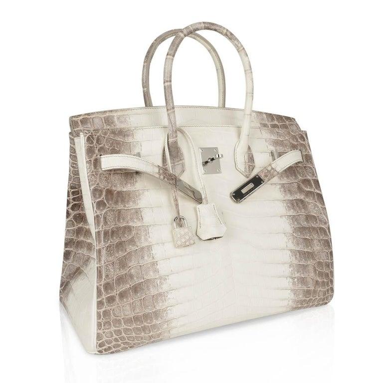 Hermes Birkin 35 Himalaya Blanc Crocodile Palladium Hardware For Sale 3