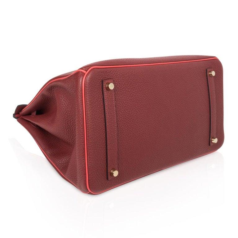 Hermes Birkin HSS 35 Bag Rouge H Bougainvillea Togo Gold Hardware For Sale 6