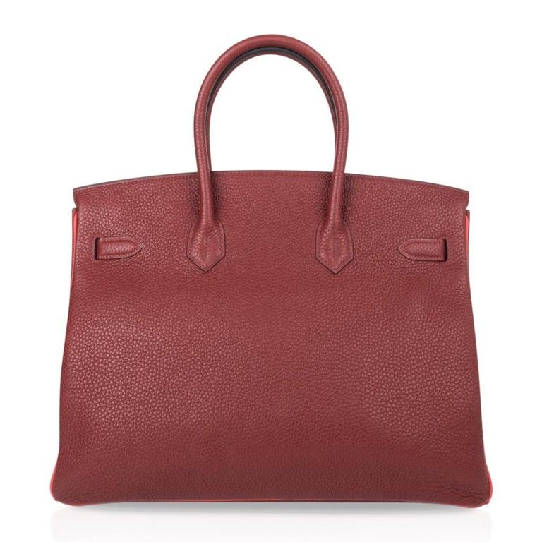 Hermes Birkin HSS 35 Bag Rouge H Bougainvillea Togo Gold Hardware For Sale 7