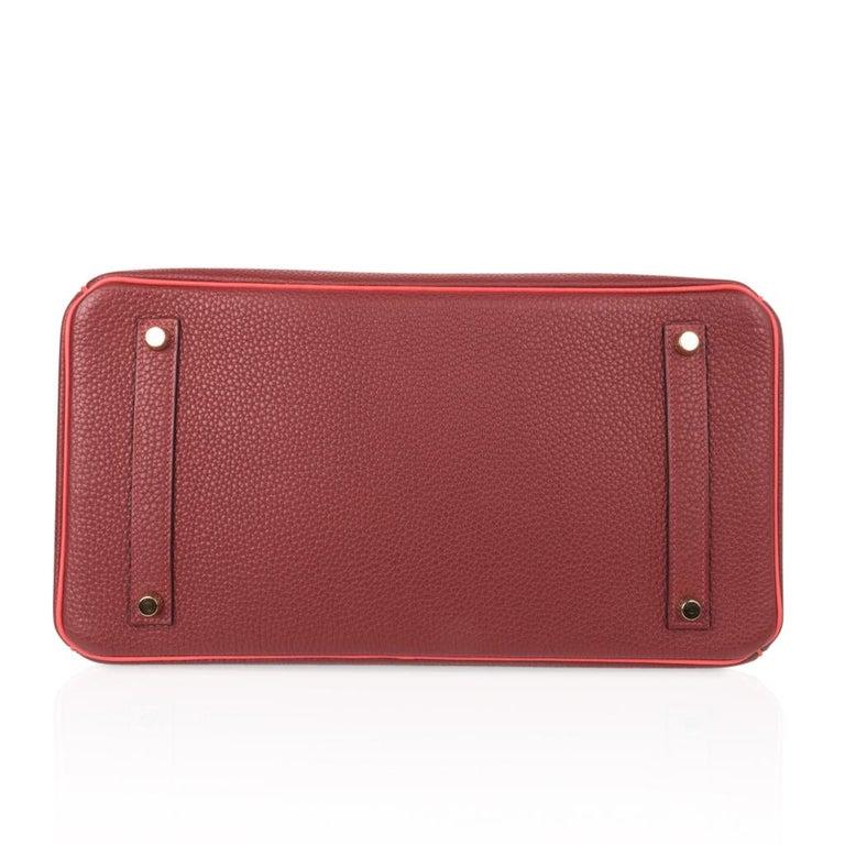 Hermes Birkin HSS 35 Bag Rouge H Bougainvillea Togo Gold Hardware For Sale 8