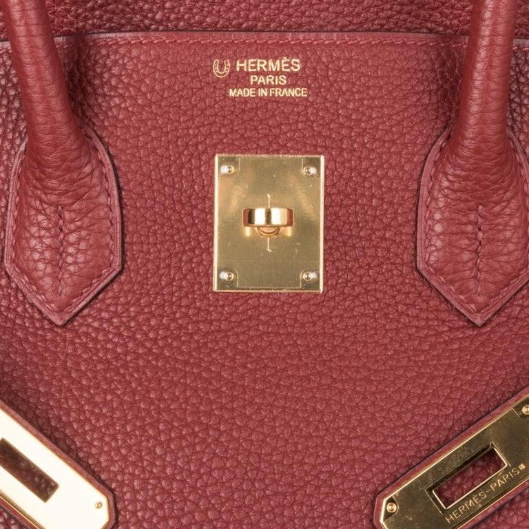 Brown Hermes Birkin HSS 35 Bag Rouge H Bougainvillea Togo Gold Hardware For Sale