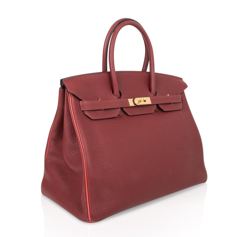 Hermes Birkin HSS 35 Bag Rouge H Bougainvillea Togo Gold Hardware In New Condition For Sale In Miami, FL