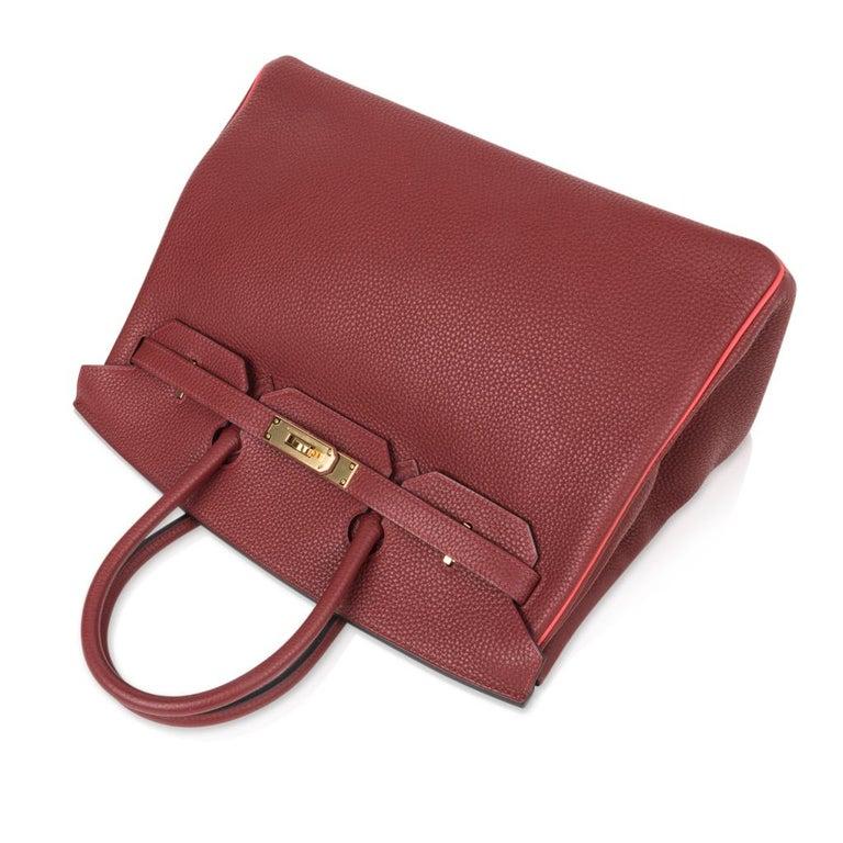 Women's Hermes Birkin HSS 35 Bag Rouge H Bougainvillea Togo Gold Hardware For Sale