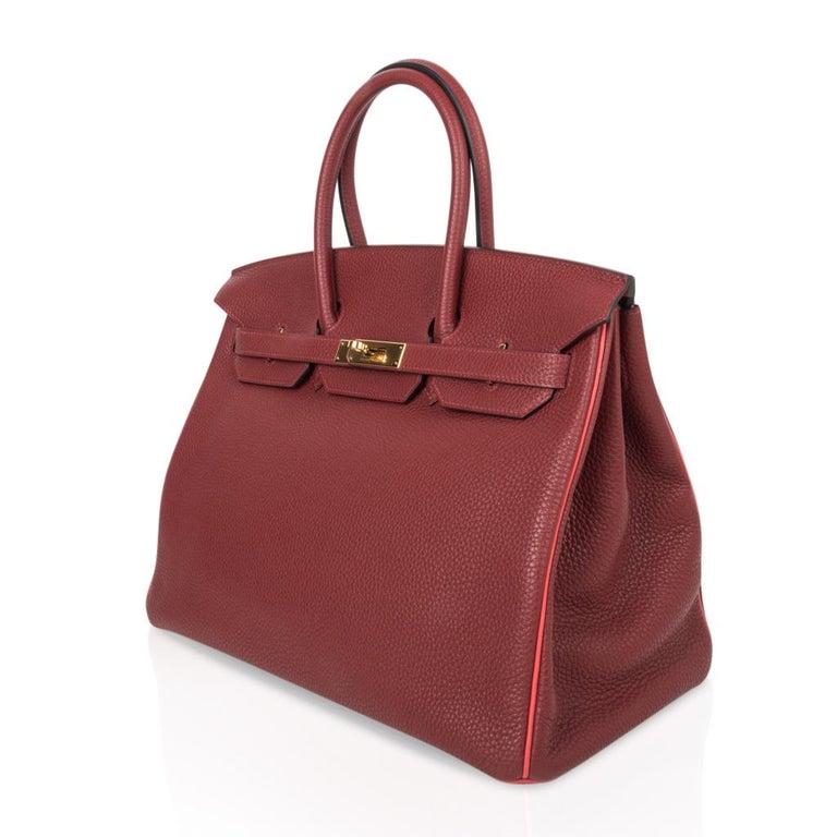 Hermes Birkin HSS 35 Bag Rouge H Bougainvillea Togo Gold Hardware For Sale 1