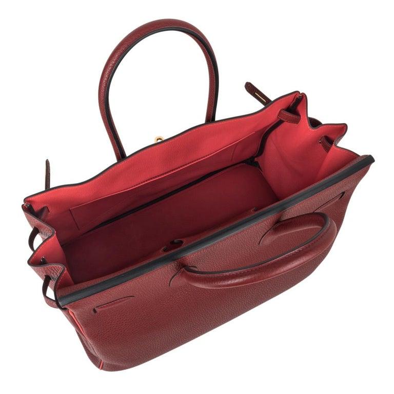 Hermes Birkin HSS 35 Bag Rouge H Bougainvillea Togo Gold Hardware For Sale 2
