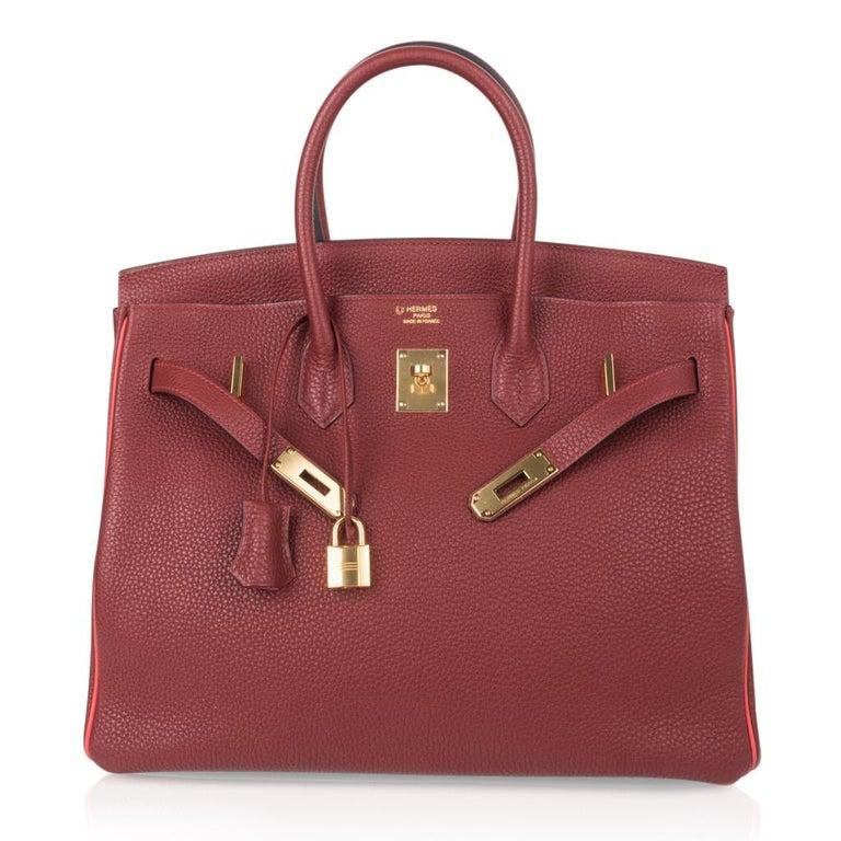 Hermes Birkin HSS 35 Bag Rouge H Bougainvillea Togo Gold Hardware For Sale 3