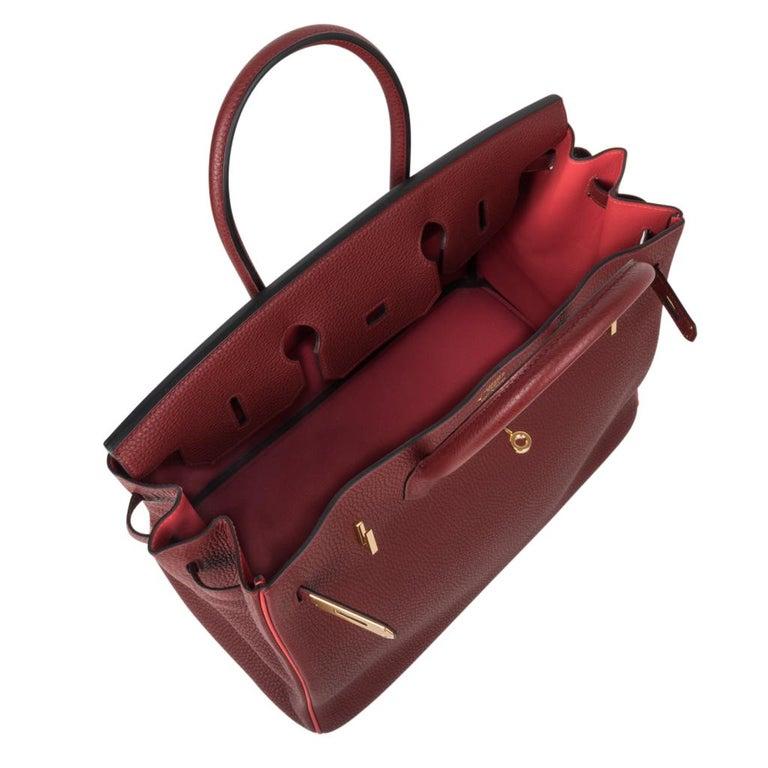 Hermes Birkin HSS 35 Bag Rouge H Bougainvillea Togo Gold Hardware For Sale 4