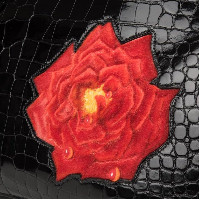 Hermes Birkin 35 HSS Porosus Crocodile Black Red Dewdrop Rose One of a Kind 4