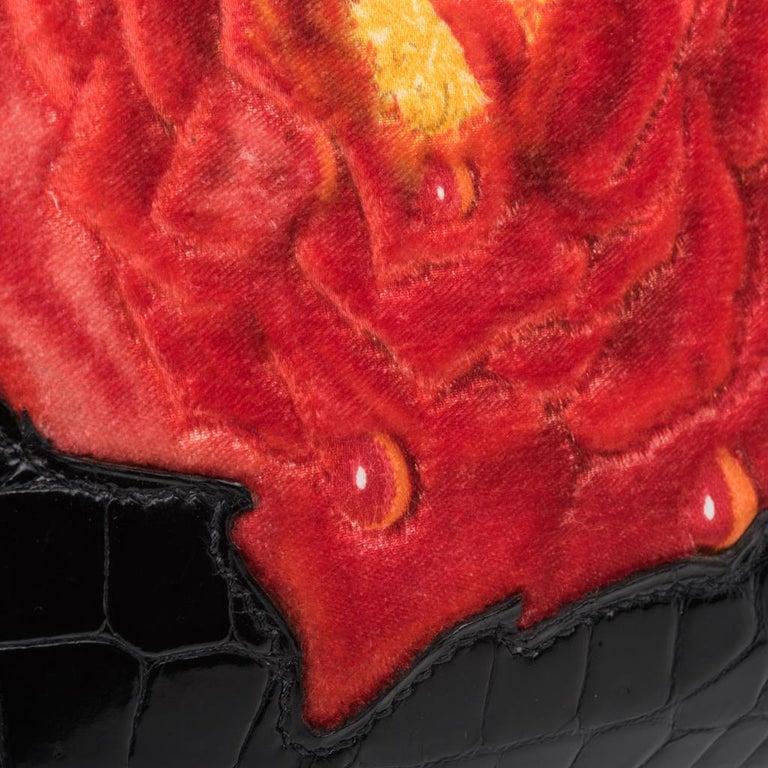 Hermes Birkin 35 HSS Porosus Crocodile Black Red Dewdrop Rose One of a Kind 5
