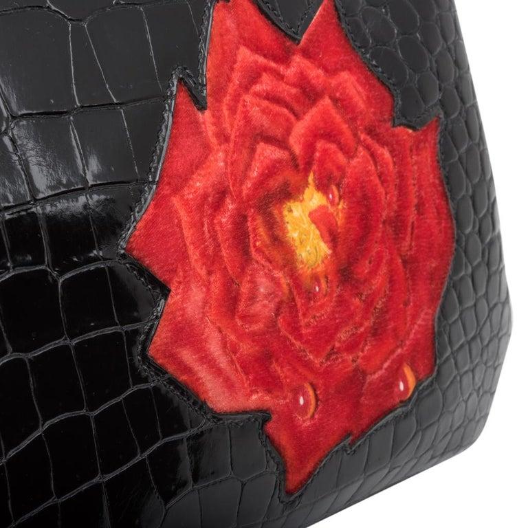 Hermes Birkin 35 HSS Porosus Crocodile Black Red Dewdrop Rose One of a Kind 6
