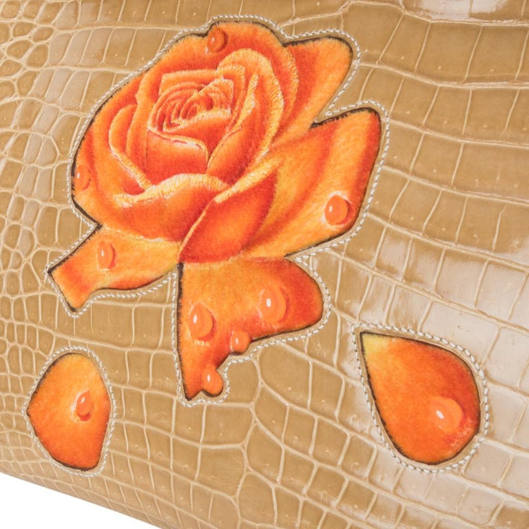 Hermes Birkin 35 HSS Porosus Crocodile Poussiere Dewdrop Roses One of a Kind In Excellent Condition For Sale In Miami, FL