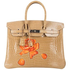 Hermes Birkin 35 HSS Porosus Crocodile Poussiere Dewdrop Roses One of a Kind