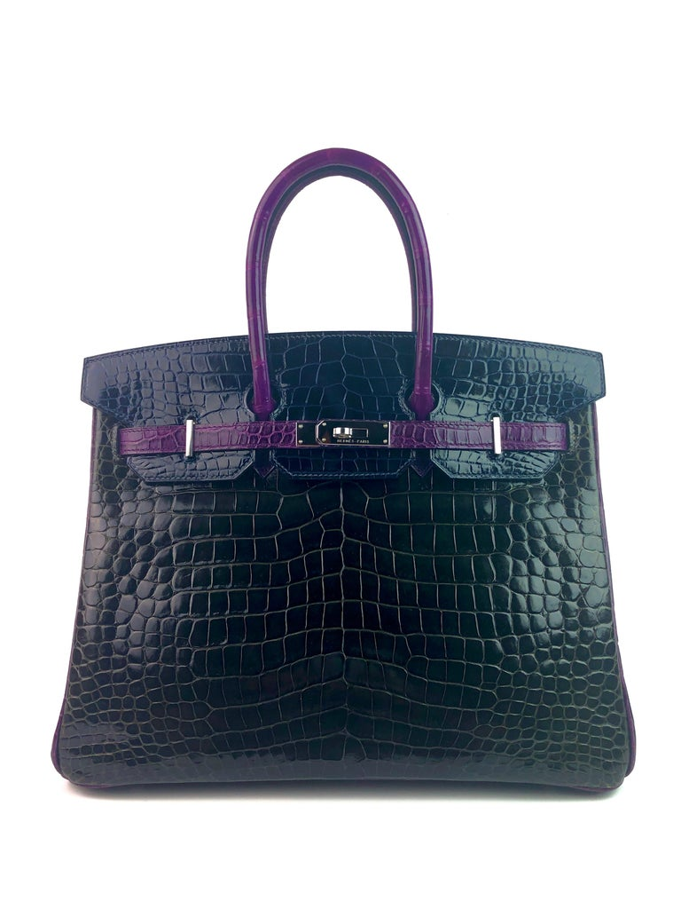 Hermes Birkin 35 HSS Special Oder Tri-Color Graphite Blue Marine Violet Crocodile. Excellent Condition Light Hairlines Best Price on eBay for Special Order! Includes Lock, Clochette, and Dust Bag. From Collectors Closet.  Shop with Confidence from