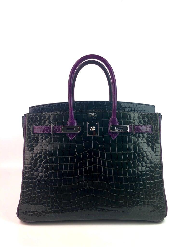Purple Hermes Birkin 35 HSS Special Oder Graphite Blue Marine Violet Crocodile
