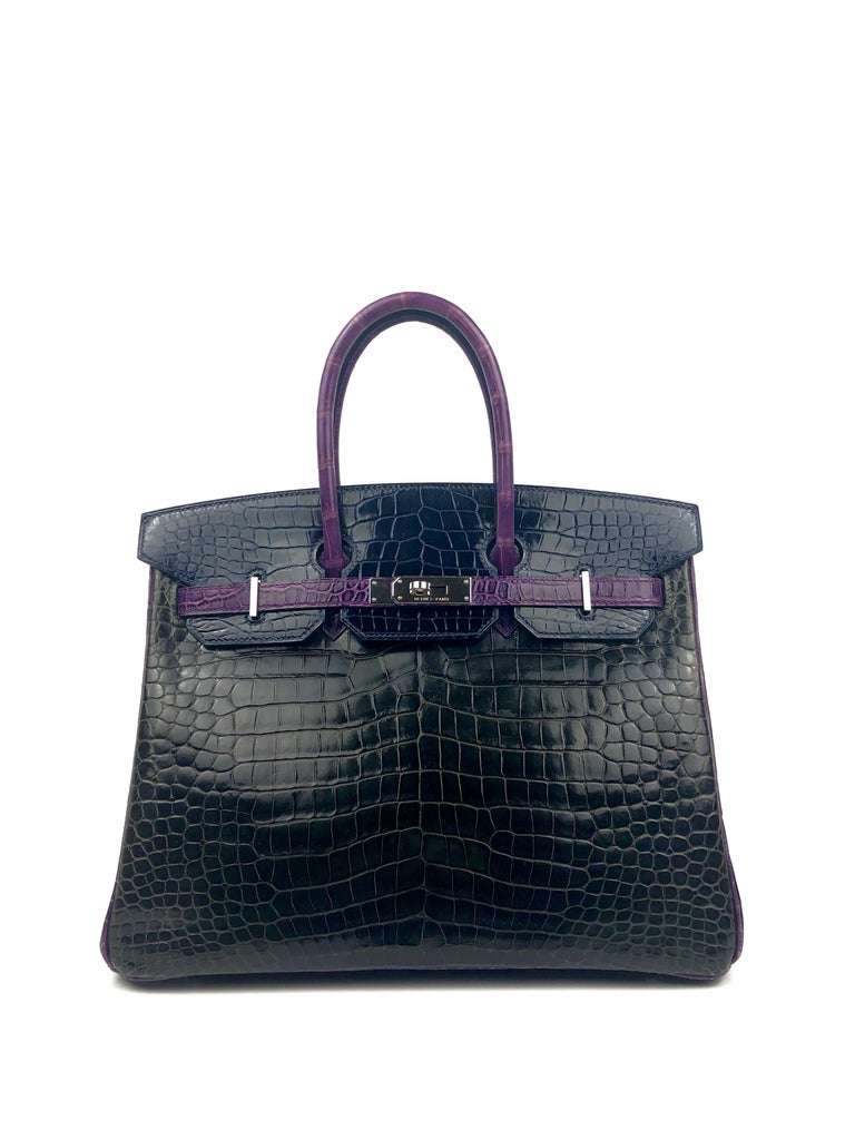 Hermes Birkin 35 HSS Special Oder Tri Color Graphite Blue Marine Violet Crocodile. Excellent Condition Light Hairlines on Hardware some water marketing nothing major or highly noticeable. With Hermès Spa bag would be almost as new. Best Price