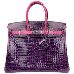 Hermes Birkin 35 HSS Special Order Amethyst Purple Rose Tyrien Pink Crocodile
