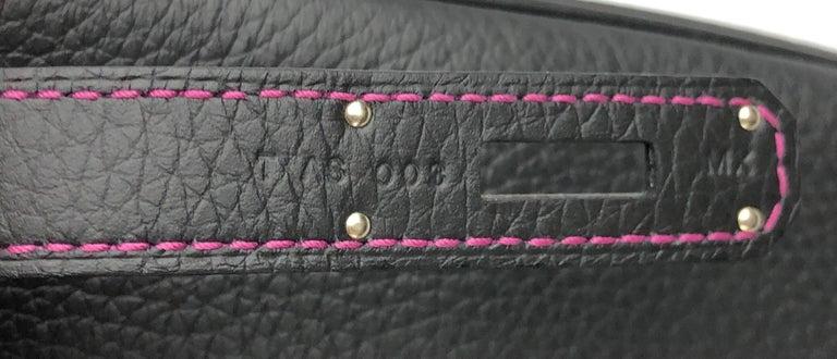 Hermes Birkin 35 HSS Special Order Black Bubblegum Pink Palladium Hardware  For Sale 6