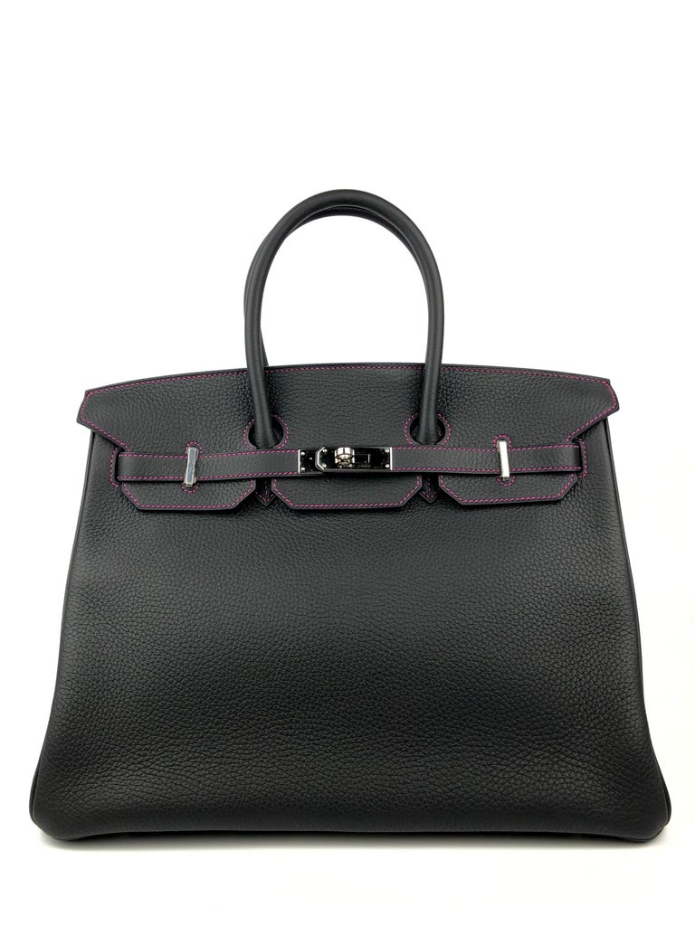 Like New Rate Hermes Birkin 35 HSS Special Order Black Bubblegum Pink Palladium Hardware. Like New with all plastic.   Shop with Confidence from Lux Addicts. Authenticity Guaranteed!