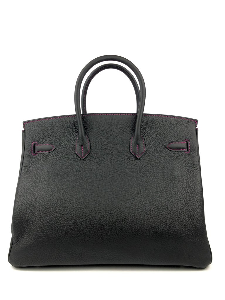 Women's or Men's Hermes Birkin 35 HSS Special Order Black Bubblegum Pink Palladium Hardware  For Sale