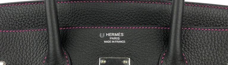 Hermes Birkin 35 HSS Special Order Black Bubblegum Pink Palladium Hardware  For Sale 1