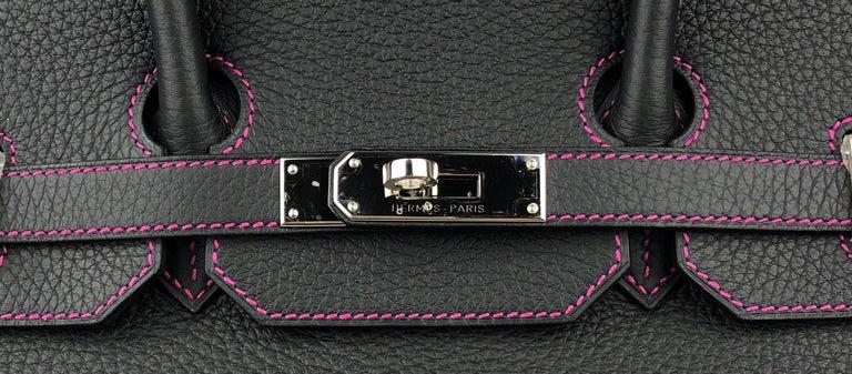 Hermes Birkin 35 HSS Special Order Black Bubblegum Pink Palladium Hardware  For Sale 2