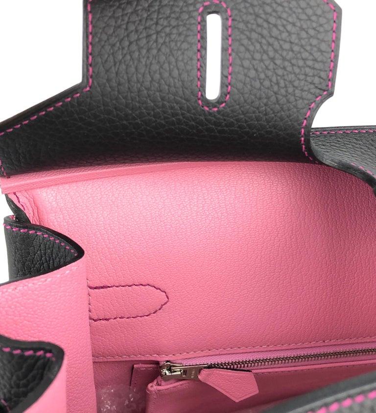Hermes Birkin 35 HSS Special Order Black Bubblegum Pink Palladium Hardware  For Sale 3