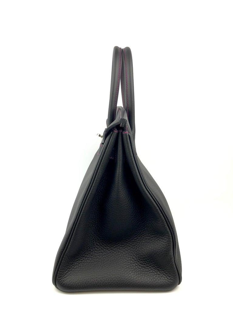 Hermes Birkin 35 HSS Special Order Black Bubblegum Pink Palladium Hardware  For Sale 4