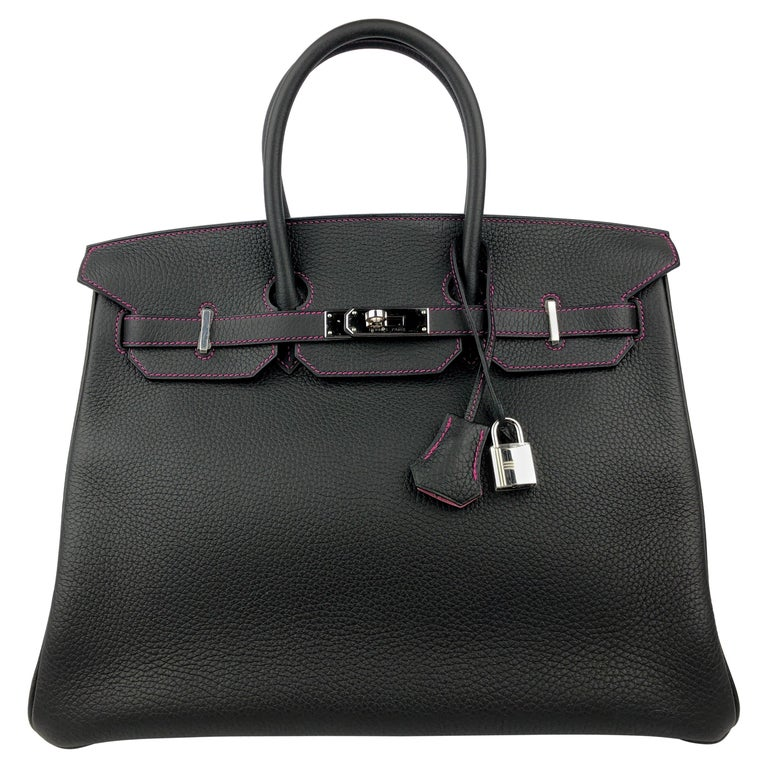 Hermes Birkin 35 HSS Special Order Black Bubblegum Pink Palladium Hardware  For Sale